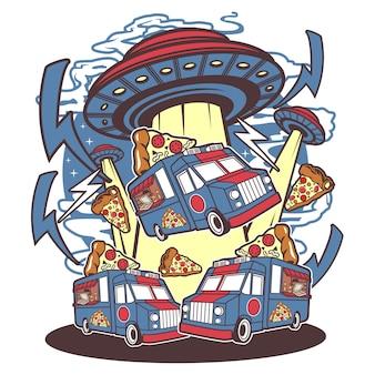 Pizza ufo su bianco