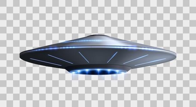 Astronave ufo con raggio di luce isolato illustrazione vettoriale di nave aliena volante