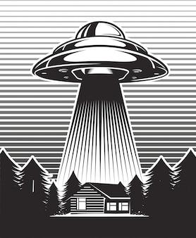 Illustrazione vintage ufo.