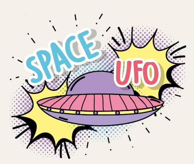 Ufo con chat bubble e messaggio spaziale