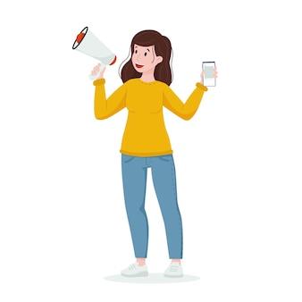 Concetto ugc la donna parla in un megafono con un telefono in mano