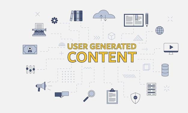 Concetto di contenuto generato dall'utente ugc con set di icone con grandi parole o testo sull'illustrazione vettoriale centrale