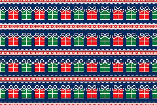 Brutto maglione di natale party pixel pattern design con ornamenti senza cuciture di scatole regalo