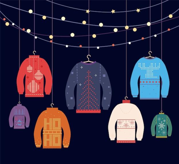 Brutto maglione. maglioni natalizi con diverse graziose stampe e ornamenti