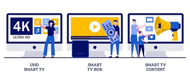 Smart tv uhd, smart tv box, concetto di contenuto video 4k con persone minuscole