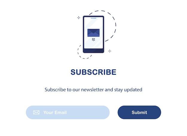 Modello di banner dell'interfaccia utente di email marketing per l'abbonamento alla newsletter isolato su sfondo bianco