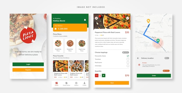 Modello di pizza per app di progettazione dell'interfaccia utente