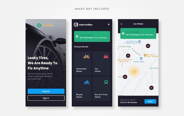 Progettazione dell'interfaccia utente di pneumatici che perdono app per dispositivi mobili