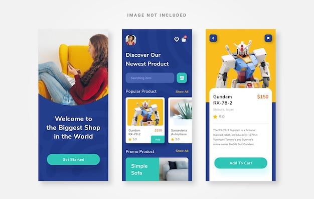 App per il negozio online di progettazione dell'interfaccia utente