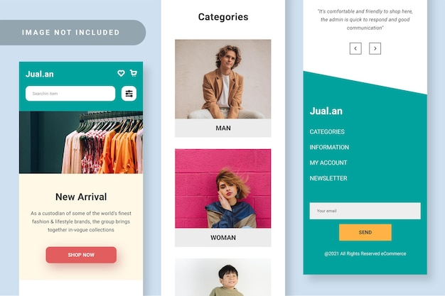 Negozio online reattivo di progettazione dell'interfaccia utente