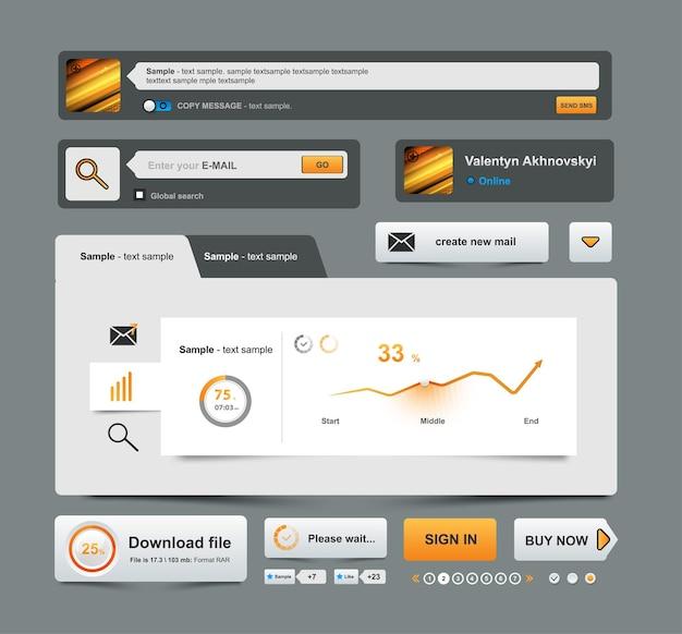 Ui elements design impostato per la progettazione di siti web e business