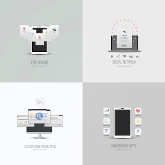 Elementi dell'interfaccia utente e icone per app per smartphone, sviluppo, ottimizzazione dei motori di ricerca e social network