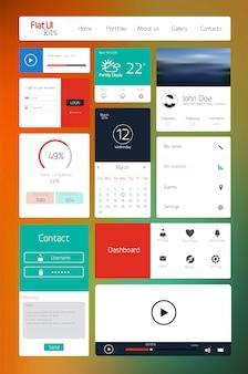 Elementi dell'interfaccia utente per web e dispositivi mobili. icone e pulsanti. design piatto.