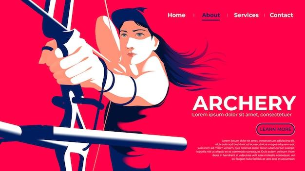 L'interfaccia utente o la pagina di destinazione dell'arciere femminile sta tirando l'arco ed è pronta a sparare con occhi determinati.
