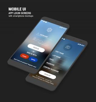 Schermate di accesso e registrazione dell'interfaccia utente e kit per smartphone 3d