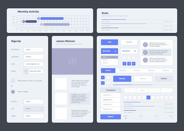 Modello dell'interfaccia utente. web dashboard elementi pulsanti divisori menu simboli ux layout sgargiante raccolta vettoriale. software reattivo per report di illustrazione, pulsante home page dell'utente