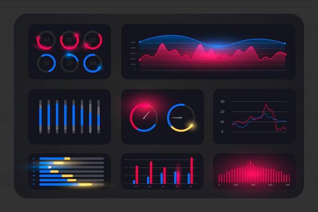 Modello di layout del pannello di amministrazione dell'interfaccia utente ux con grafica hud
