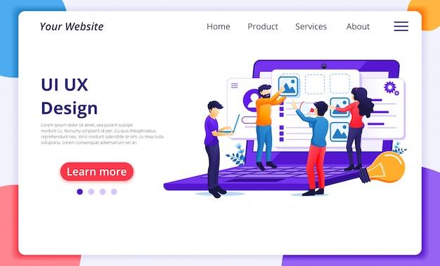 Ui ux concept, persone che creano un contenuto dell'applicazione e un posto di testo. modello di pagina di destinazione del sito web
