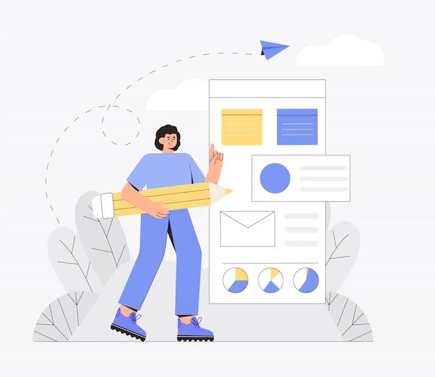 Ui ux concetto di design per la creazione di un'applicazione. processo di creazione del modello di sito web e programmazione.