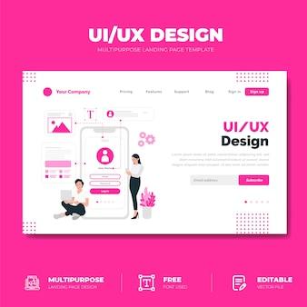 Pagina di destinazione del design dell'interfaccia utente / ux