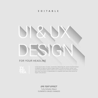 Ui ux design titolo titolo effetto testo minimalista modificabile premium vettore premium