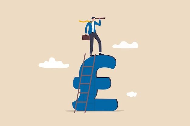 Regno unito, opportunità di investimento economico del regno unito, visione economica dopo l'accordo brexit, scoperta del concetto di profitto finanziario, leader d'affari guarda attraverso il telescopio per vedere la visione futura.