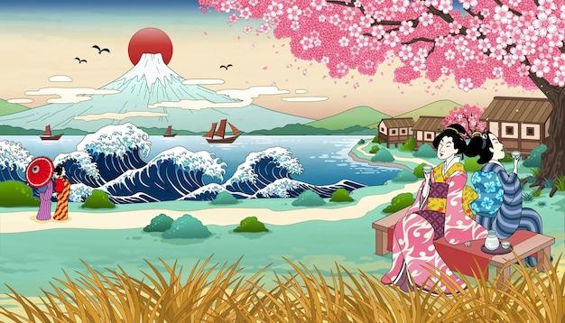 Geisha in stile ukiyo e beve sakè sotto un bellissimo albero di ciliegio