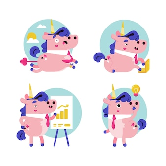 Ukko the unicorn business stickers