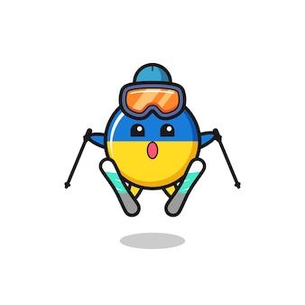 Carattere della mascotte del distintivo della bandiera dell'ucraina come giocatore di sci, design in stile carino per maglietta, adesivo, elemento logo