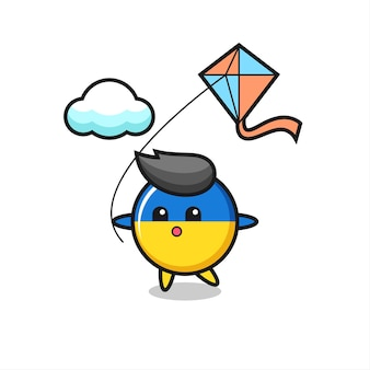 L'illustrazione della mascotte del distintivo della bandiera dell'ucraina sta giocando a un aquilone, un design in stile carino per maglietta, adesivo, elemento logo