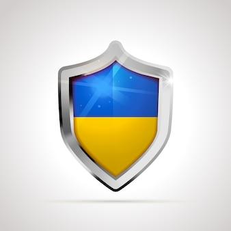Bandiera dell'ucraina proiettata come uno scudo lucido
