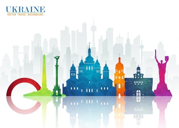 Carta di viaggio e viaggio globale dell'ucraina landmark