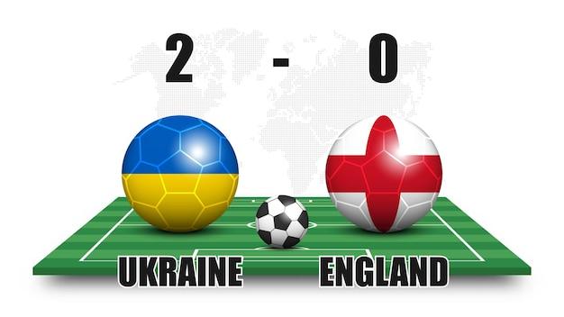 Ucraina contro inghilterra. pallone da calcio con motivo a bandiera nazionale sul campo di calcio in prospettiva. priorità bassa della mappa del mondo di punti. risultato della partita di calcio e tabellone segnapunti. torneo di coppa sportiva. disegno vettoriale 3d.
