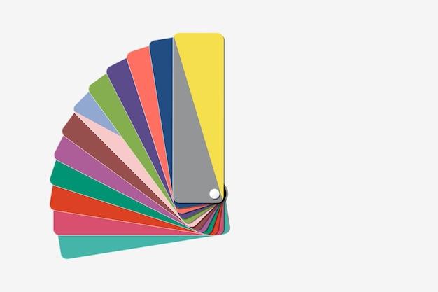 Colori grigi e illuminanti definitivi, colore dell'anno 2021, tavolozza di colori alla moda a ventaglio, guida campione di campioni