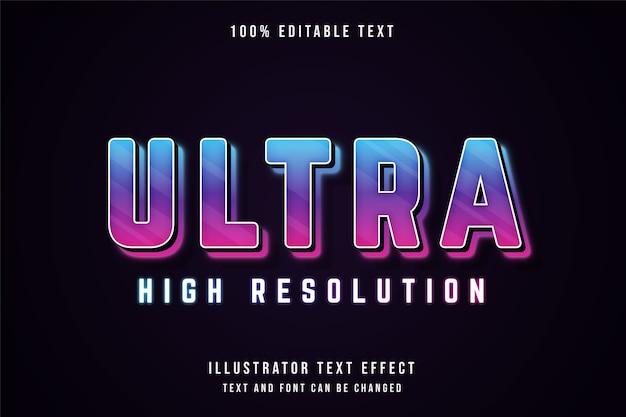 Ultra alta risoluzione, 3d testo modificabile effetto blu gradazione viola rosa neon stile testo