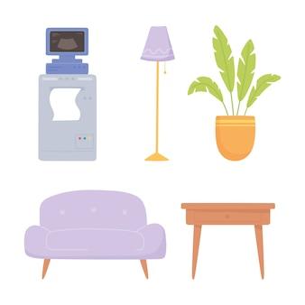 Icone della pianta e del divano della lampada della macchina ad ultrasuoni