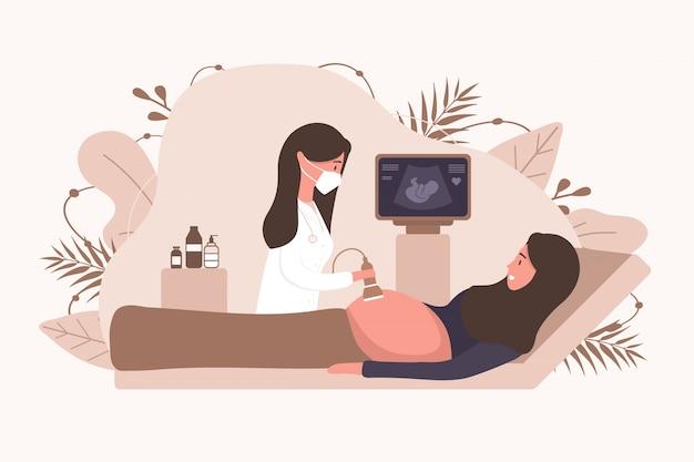 Concetto di screening di gravidanza musulmana ad ultrasuoni. illustrazione diagnostica di salute del bambino dell'embrione.