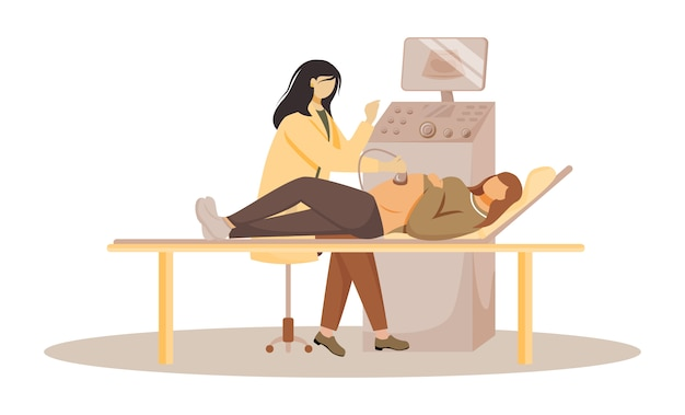 Screening ad ultrasuoni di illustrazione piatta del feto. esame prenatale. assistenza sanitaria in gravidanza. la donna incinta con medico in clinica ha isolato i personaggi dei cartoni animati su fondo bianco