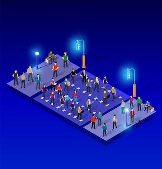 Illustrazione isometrica 3d della lampada di via al neon ultravioletta