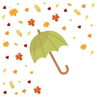 Ombrello e foglie d'autunno ciao autunno autunno concetto cartolina grafica vettoriale