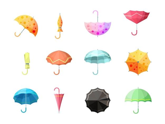 Ombrello. insieme di vettore di simboli di pioggia insieme di ombrelli di flessibilità di protezione di autunno insieme. collezione di ombrelli per l'illustrazione della pioggia autunnale