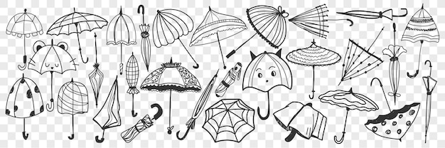 Illustrazione stabilita di doodle dell'ombrello