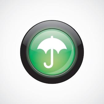 Tasto lucido verde dell'icona del segno di vetro dell'ombrello. pulsante del sito web dell'interfaccia utente