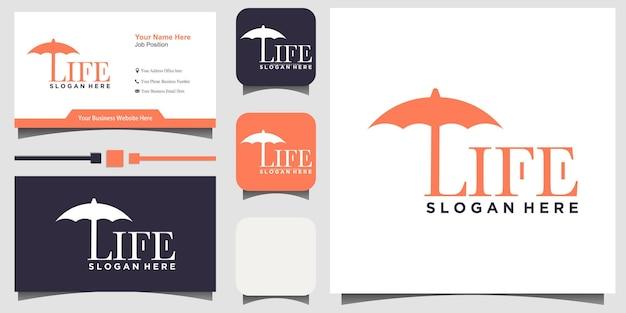 Vettore di progettazione del logo della vita dell'ombrello con lo sfondo del modello di biglietto da visita
