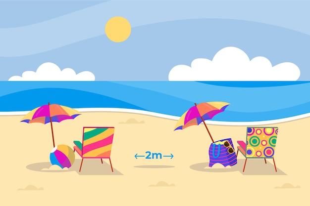 Ombrelloni sulle spiagge di distanza sociale