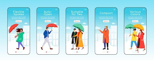 Ombrelli onboarding modello piatto schermo dell'app mobile