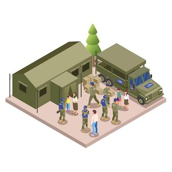 Le forze di pace delle nazioni unite assistono i campi profughi con misure di sicurezza fornitura di beni vitali composizione isometrica di aiuti umanitari