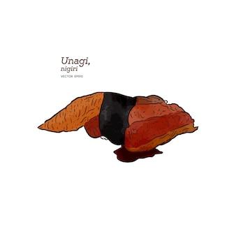 Unagi nigiri, vettore di schizzo di tiraggio della mano. cibo giapponese.