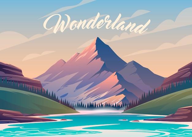 Incredibile paesaggio montano. illustrazione. vista emozionante. una grande montagna è circondata dal fiume.