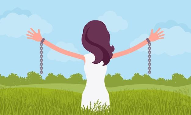 Donna senza catene con le braccia tese, vista posteriore